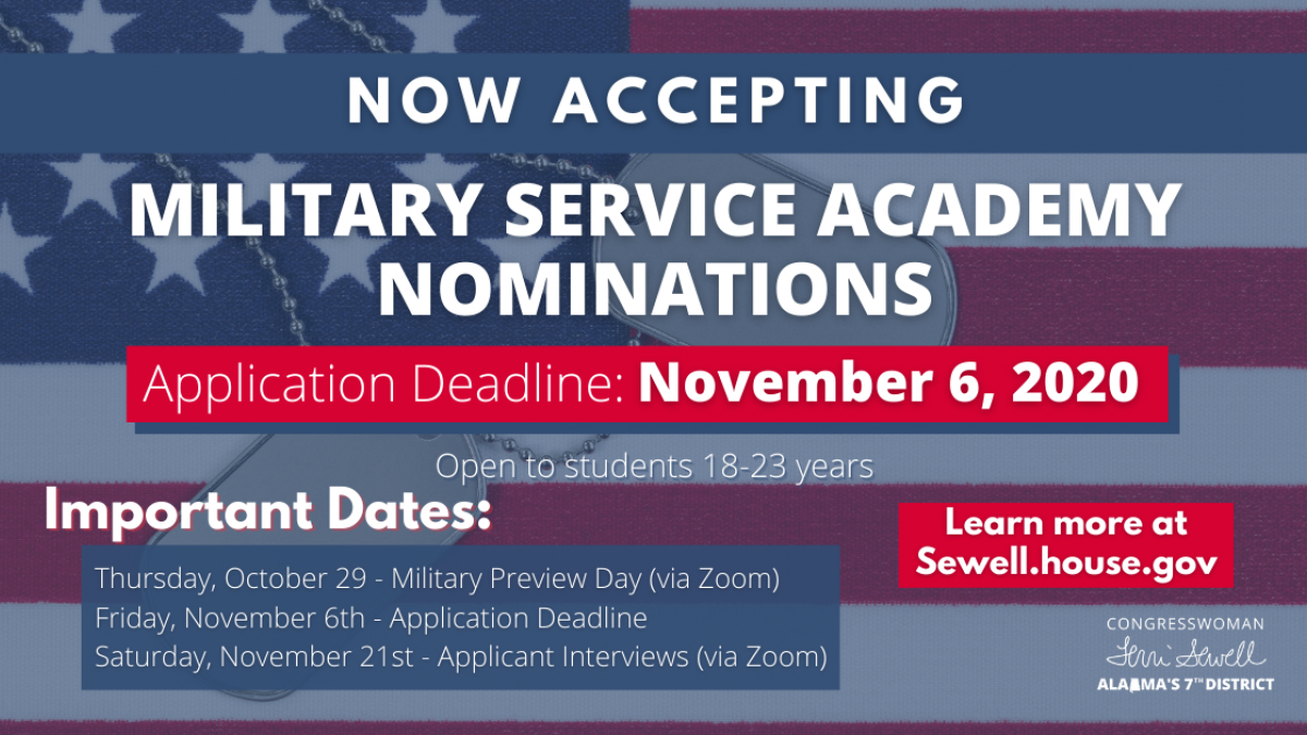 Important dates for AL-07 Congressional Military Service Academy nominations