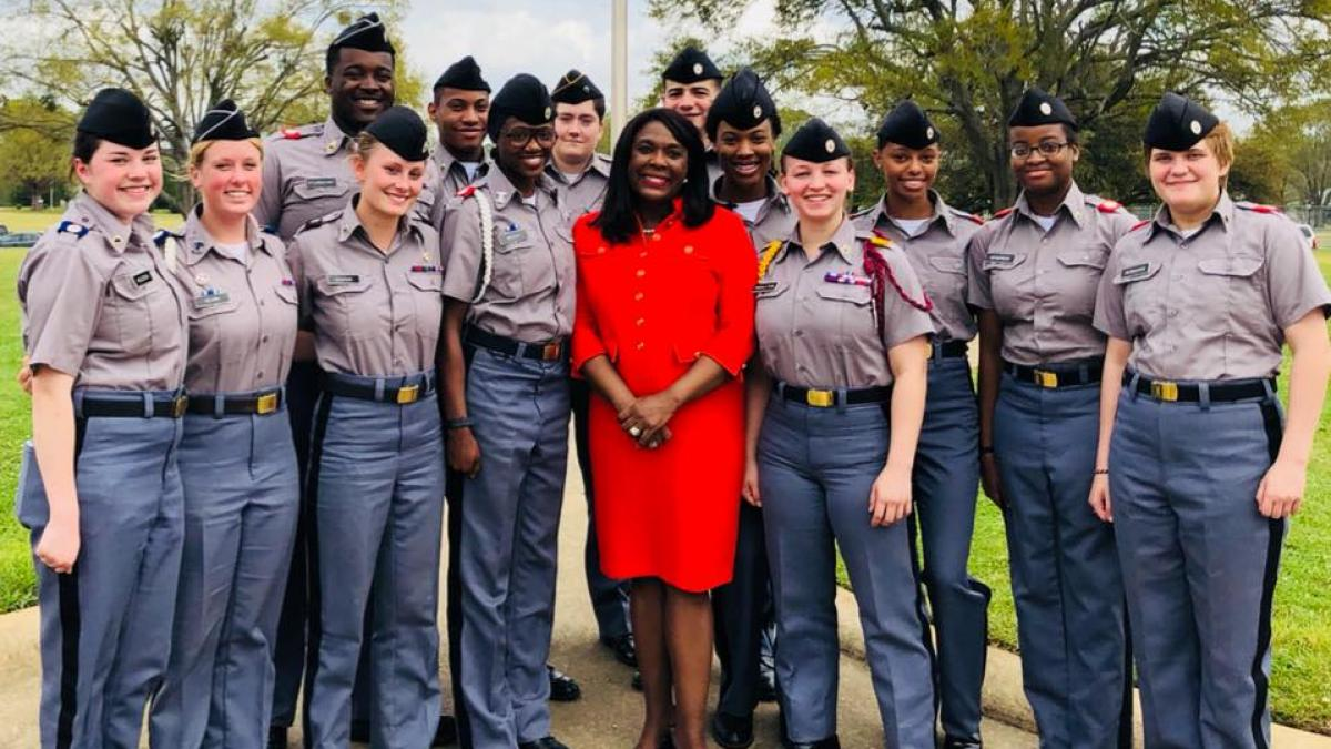 Rep. Sewell with Marion Military Institute cadets