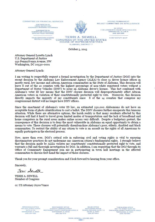 Rep. Sewell Releases Letter To Attorney General Loretta Lynch